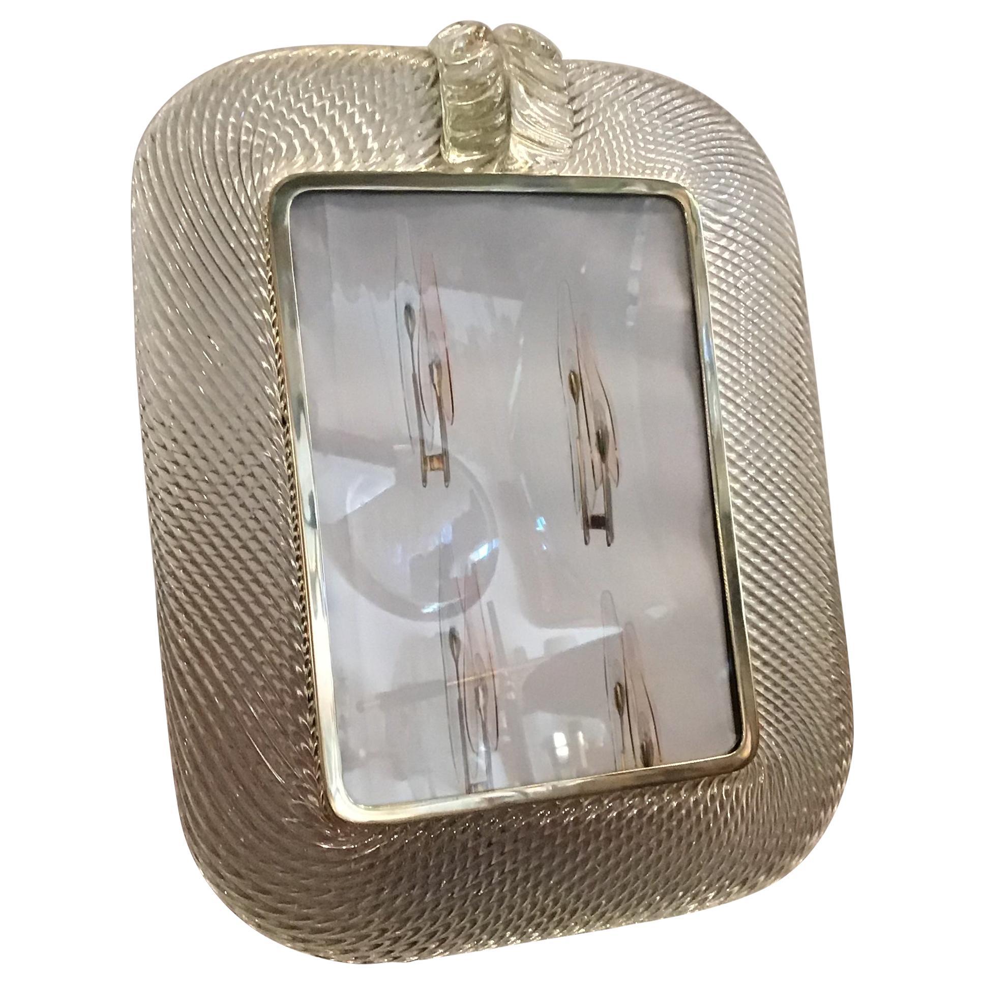 Venini Picture Frame Murano Glass Brass, 1940, Italy