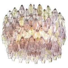 Venini Pink and Amber Oval Shaped Poliedri Chandelier by Carlo Scarpa, 1955