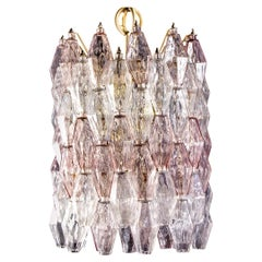 Venini Pink and Ice Original Poliedri Chandelier by Carlo Scarpa, 1955