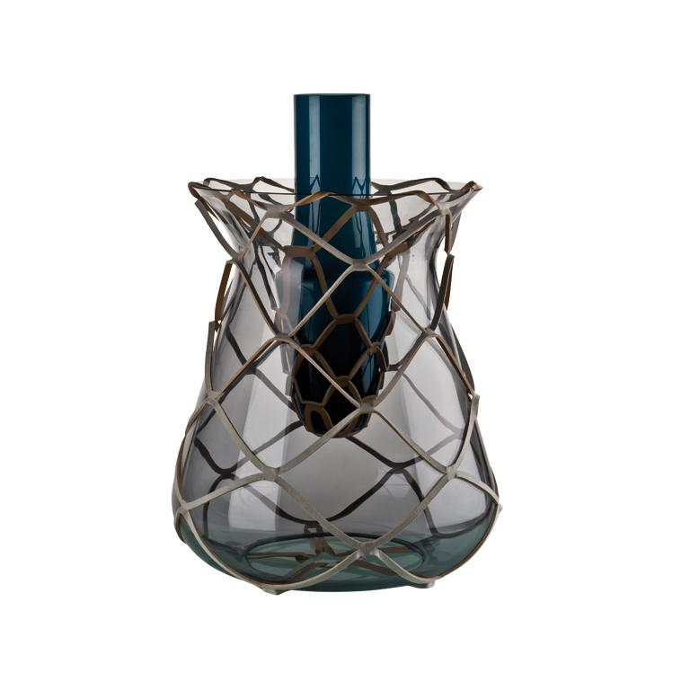 Venini Pistillo Vase in Blue & Grey Glass by Atelier Oï For Sale