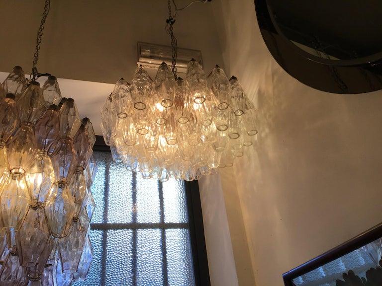 Venini Poliedri Carlo Scarpa Chandelier Murano Glass Brass Iron, 1955, Italy In Excellent Condition For Sale In Milano, IT