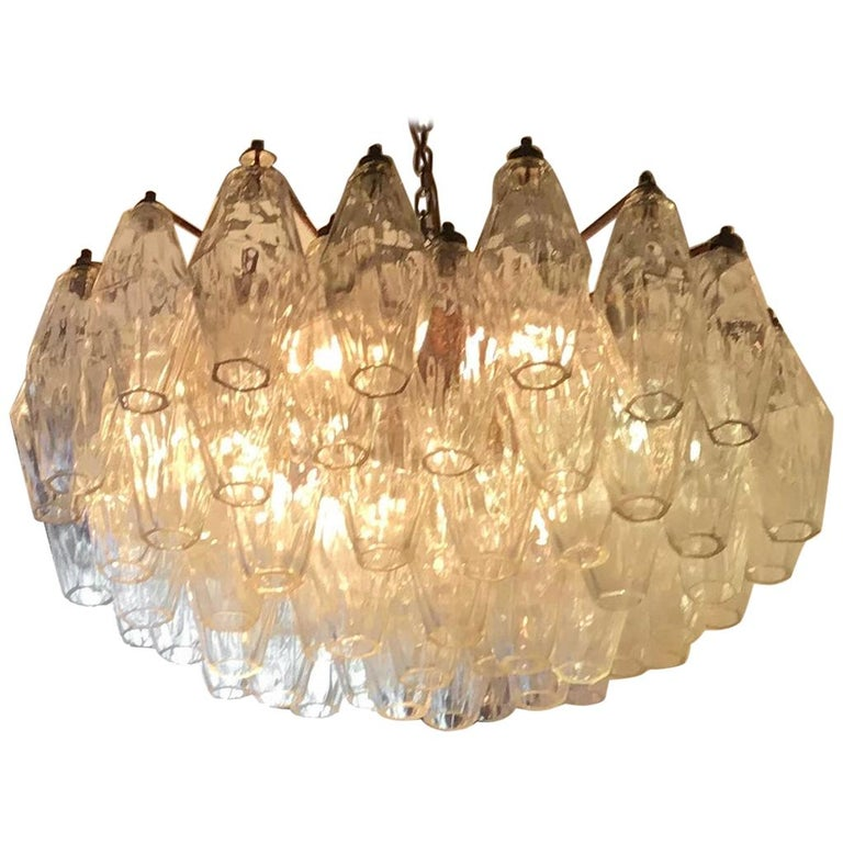 Venini Poliedri Carlo Scarpa Chandelier Murano Glass Brass Iron, 1955, Italy For Sale