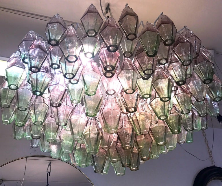 Poliedri Pink and Green Murano Glass Chandelier In Excellent Condition For Sale In Rome, IT