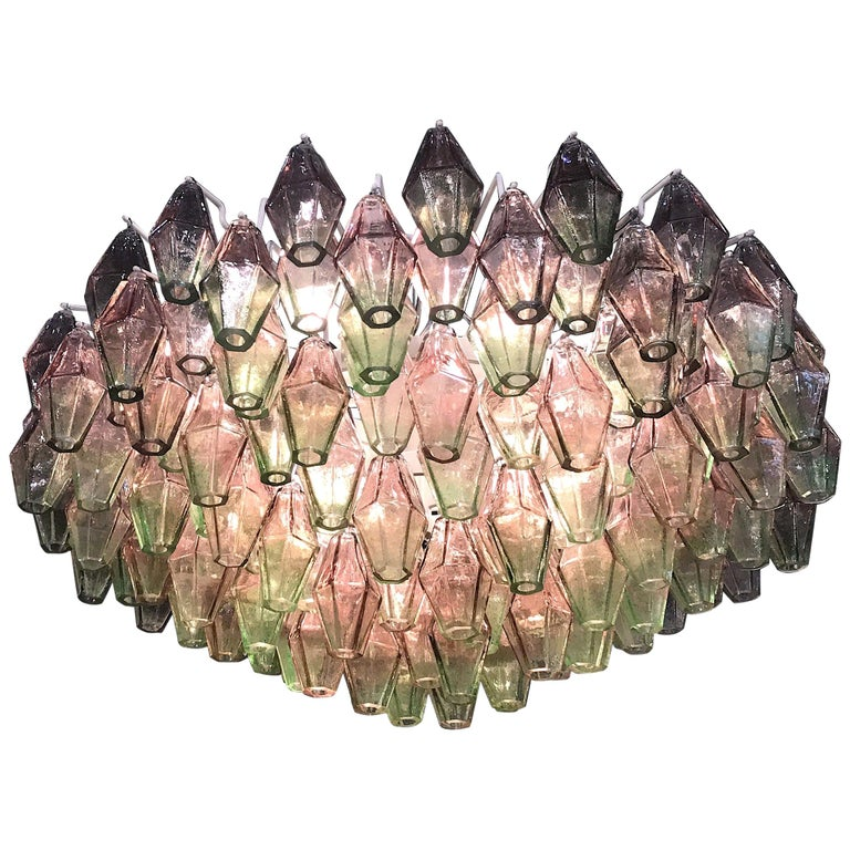 Poliedri Pink and Green Murano Glass Chandelier For Sale