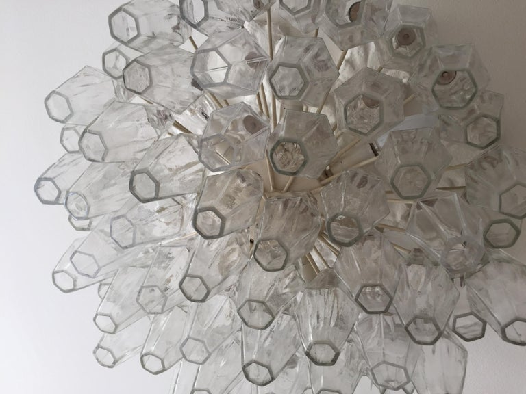 Venini Polyhedral Chandelier in Clear Brown Glass In Good Condition In Copenhagen K, DK