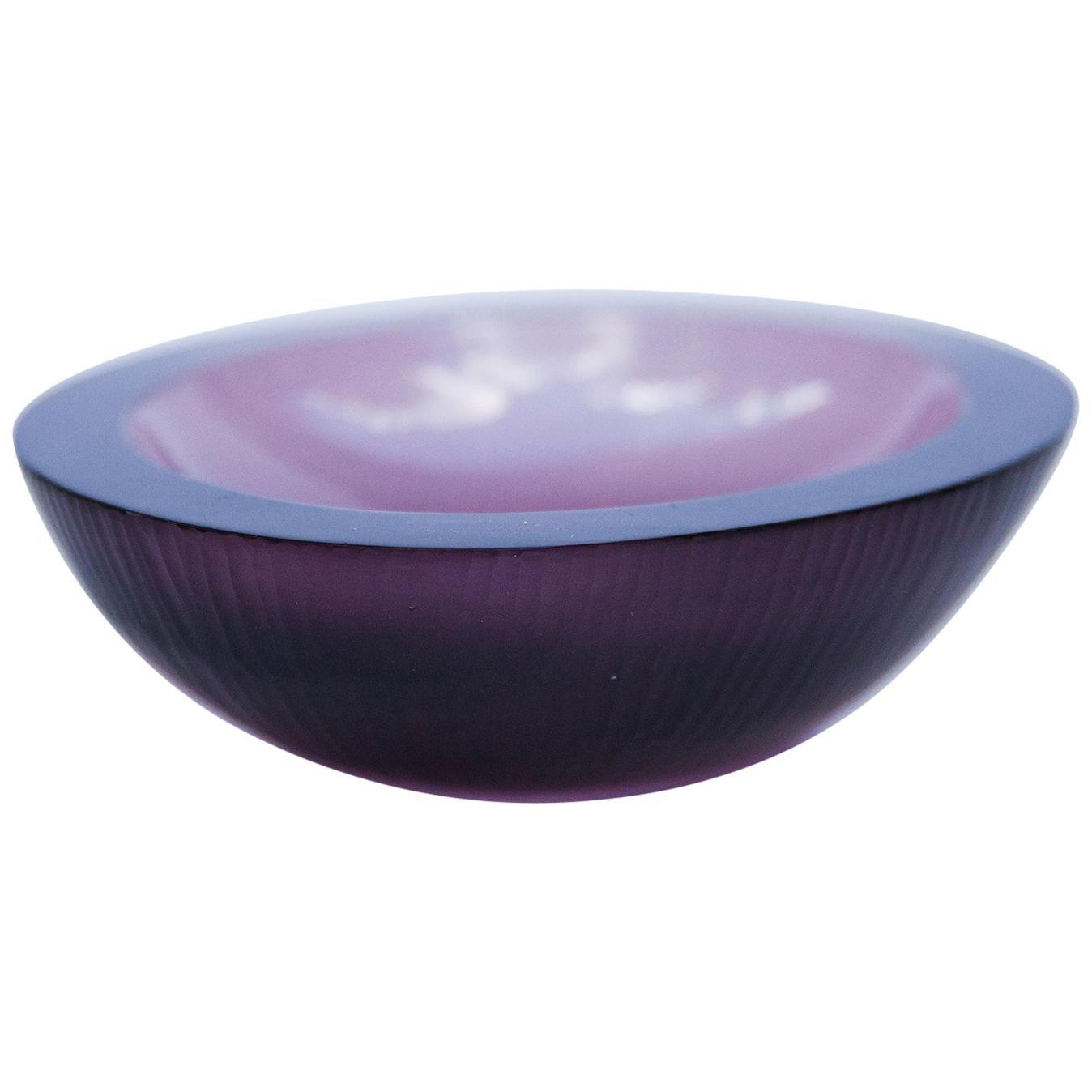 Venini Purple Murano Glass Bowl by Carlo Scarpa, 1960s
