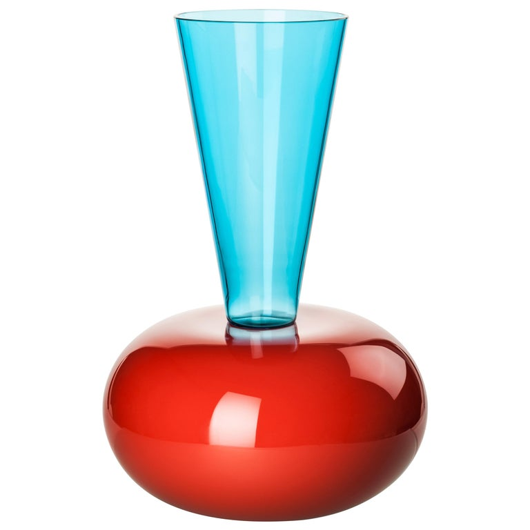 Venini Puzzle Vase in Coral & Aquamarine Glass by Ettore Sottsass For Sale