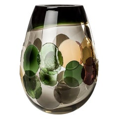 Venini Pyros Glass Vase in Brown and Green by Emmanuel Babled