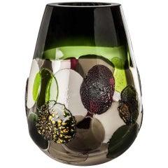 Venini Pyros Gli Stellati Glass Vase in Gray and Green by Emmanuel Babled
