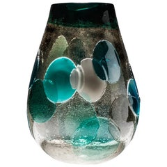 Venini Pyros I Marini Glass Vase in Gray and Blue by Emmanuel Babled