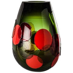 Venini Pyros I Notturni Glass Vase in Red and Green by Emmanuel Babled
