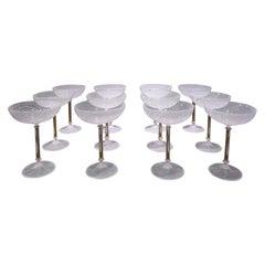 Venini Rare Set of 12 Hand Blown Champagne Coupe Glasses, 1960s