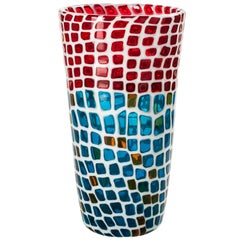 Venini Ravenna Festival Vase in Milk-White, Red & Aquamarine Glass