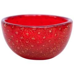 Venini Red Murano Glass Bowl by Carlo Scarpa, 1960