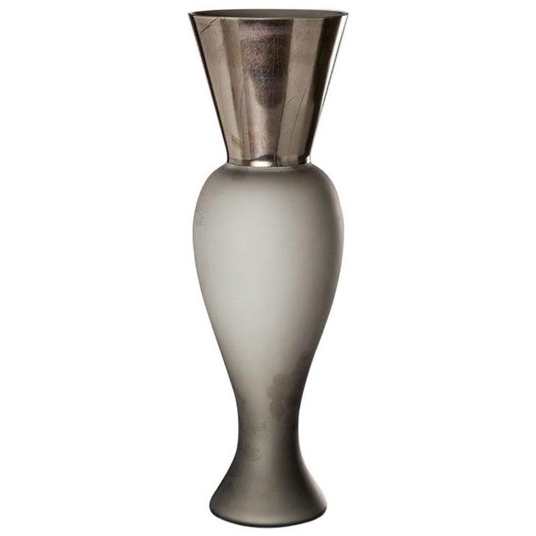 Venini Regina Vase in Gray Glass by Rodolfo Dordoni For Sale