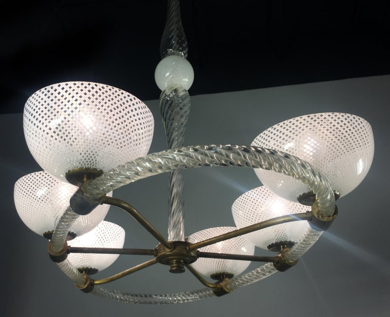 Six-arm chandelier by Venini, Italy. Handblown glass using the 'Reticello' technique.