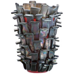 Venini Ritagli Glass Vase in Iridescent Red by Fulvio Bianconi
