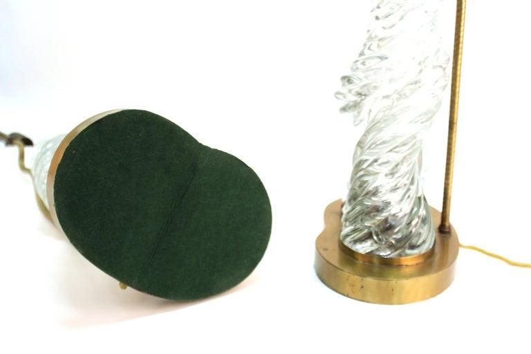 Venini & Scarpa Italian Murano Glass 'Diamante' Table Lamps For Sale 8