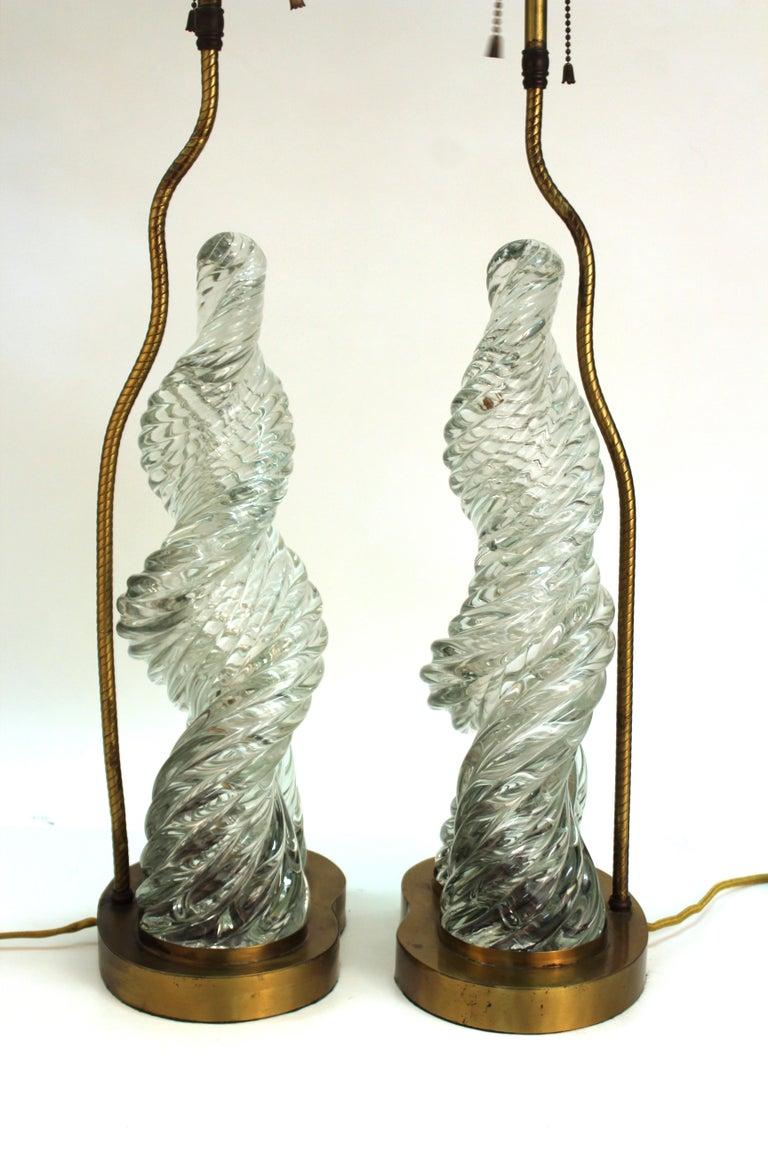 Mid-Century Modern Venini & Scarpa Italian Murano Glass 'Diamante' Table Lamps For Sale