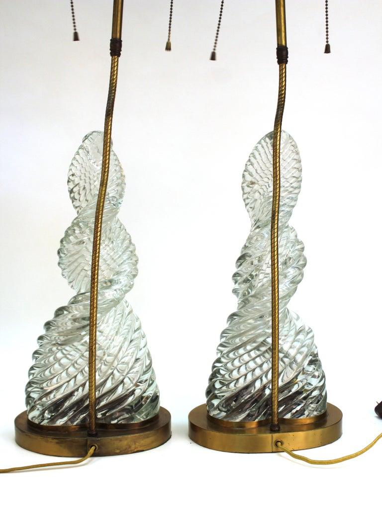 Venini & Scarpa Italian Murano Glass 'Diamante' Table Lamps In Good Condition For Sale In New York, NY