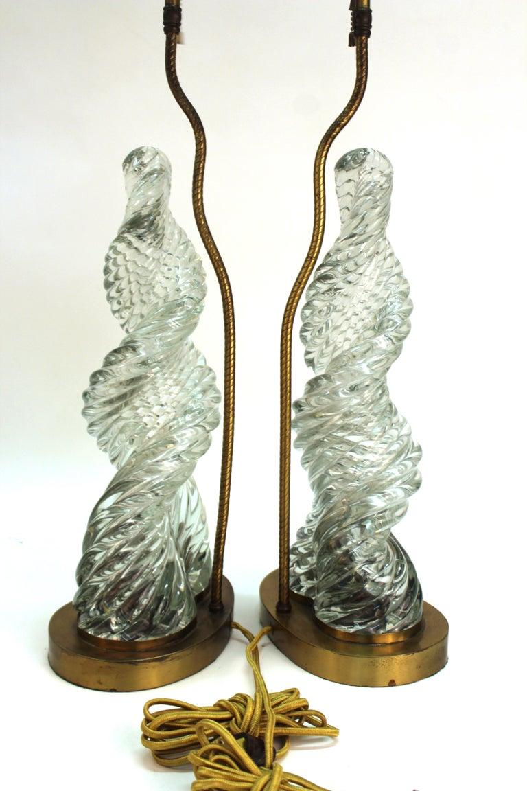 20th Century Venini & Scarpa Italian Murano Glass 'Diamante' Table Lamps For Sale