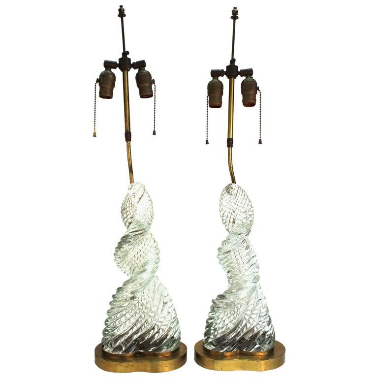 Venini & Scarpa Italian Murano Glass 'Diamante' Table Lamps For Sale
