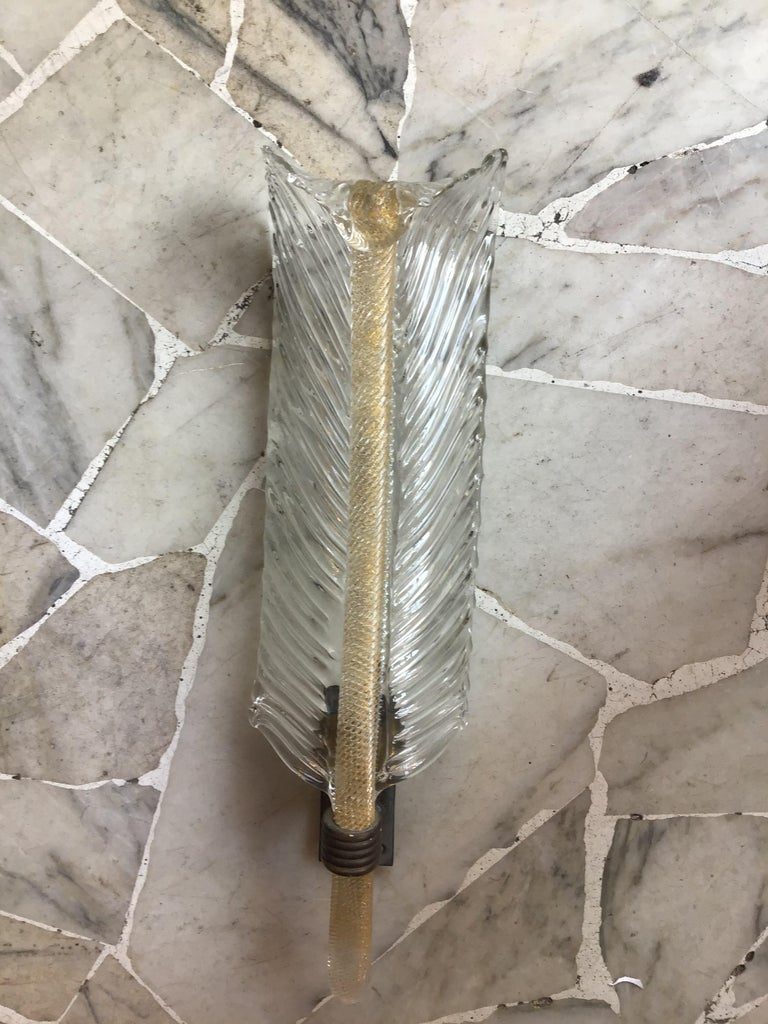 Italian Venini Sconce Murano Glass Gold Brass, 1930, Italy For Sale