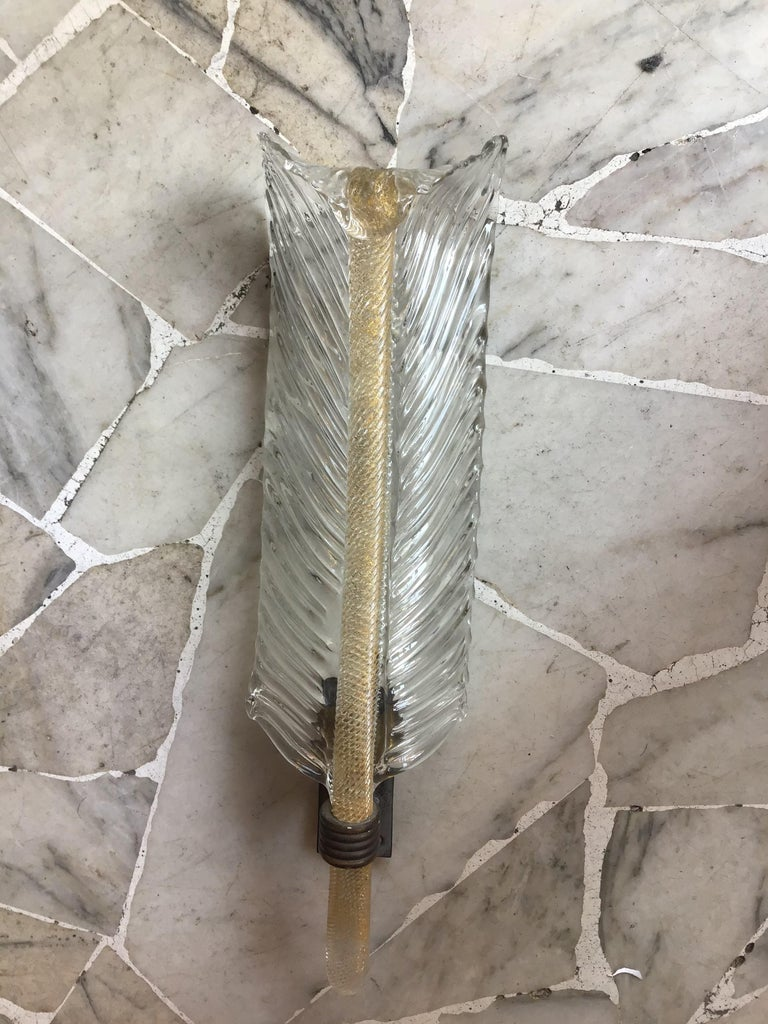 Venini Sconce Murano Glass Gold Brass, 1930, Italy In Excellent Condition For Sale In Milano, IT