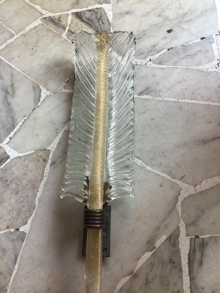 20th Century Venini Sconce Murano Glass Gold Brass, 1930, Italy For Sale