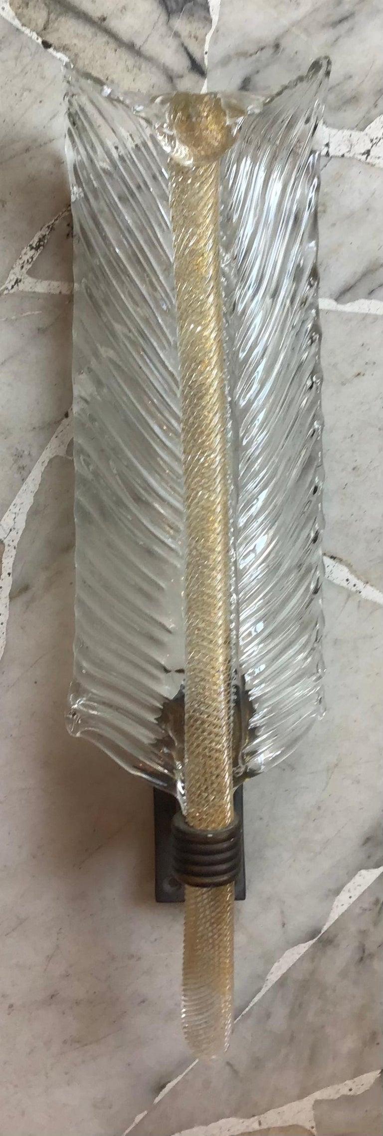 Venini Sconce Murano Glass Gold Brass, 1930, Italy For Sale 3