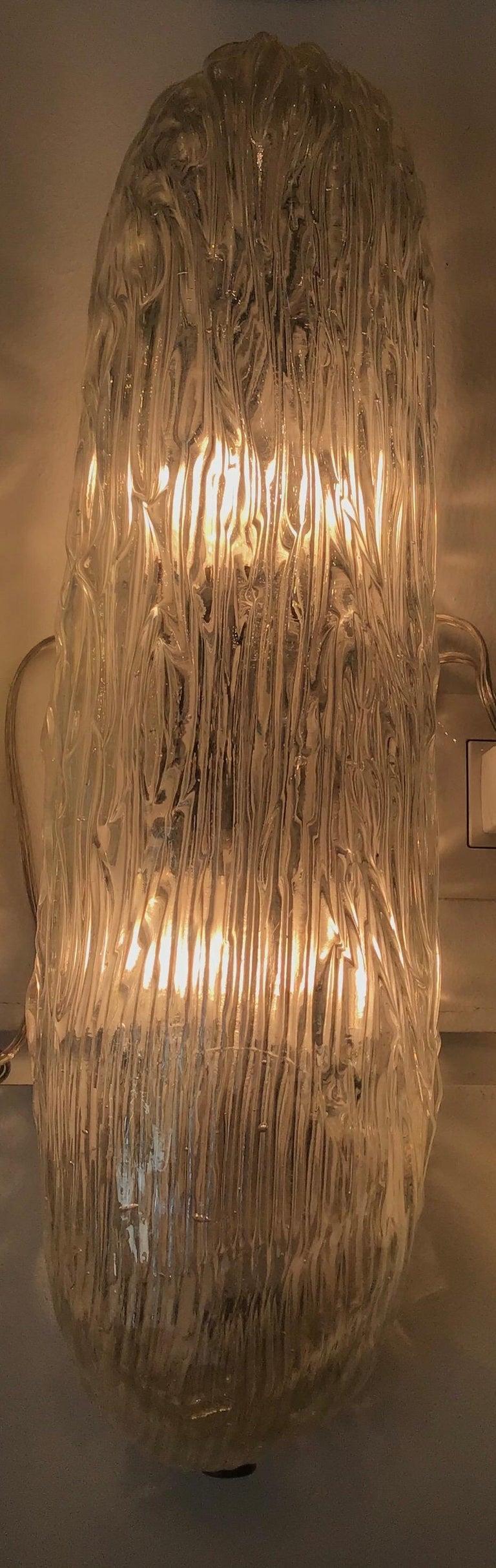 Venini Sconces/Ceiling Light Murano Glass Brass, 1950, Italy For Sale 8
