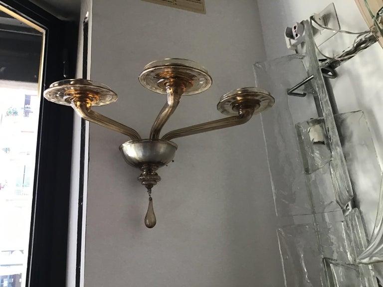Venini Sconces Murano Glass Brass, 1930, Italy For Sale 4