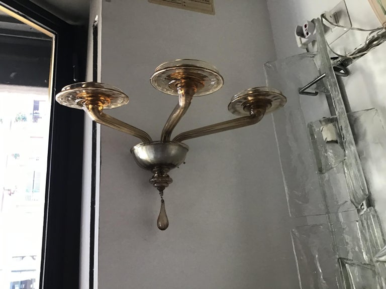 Venini Sconces Murano Glass Brass, 1930, Italy For Sale 5