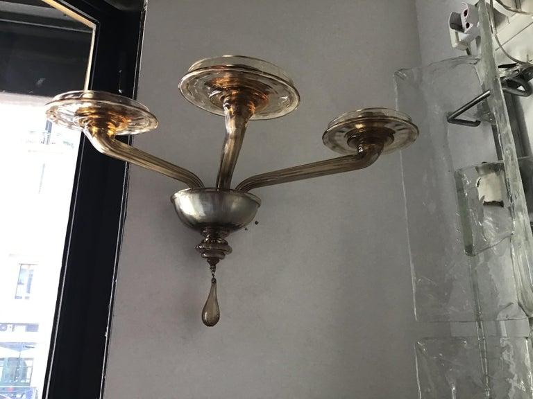 Venini Sconces Murano Glass Brass, 1930, Italy For Sale 6