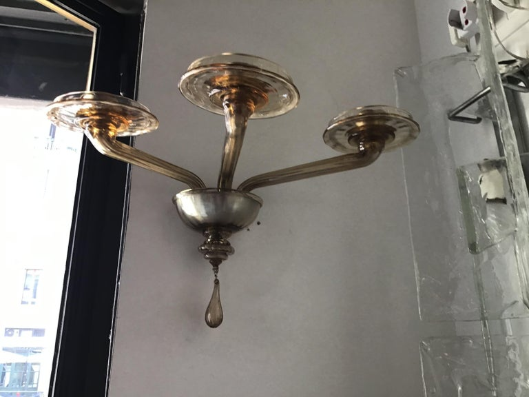Venini Sconces Murano Glass Brass, 1930, Italy For Sale 7