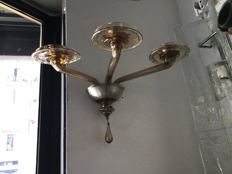 Italian Venini Sconces Murano Glass Brass, 1930, Italy For Sale