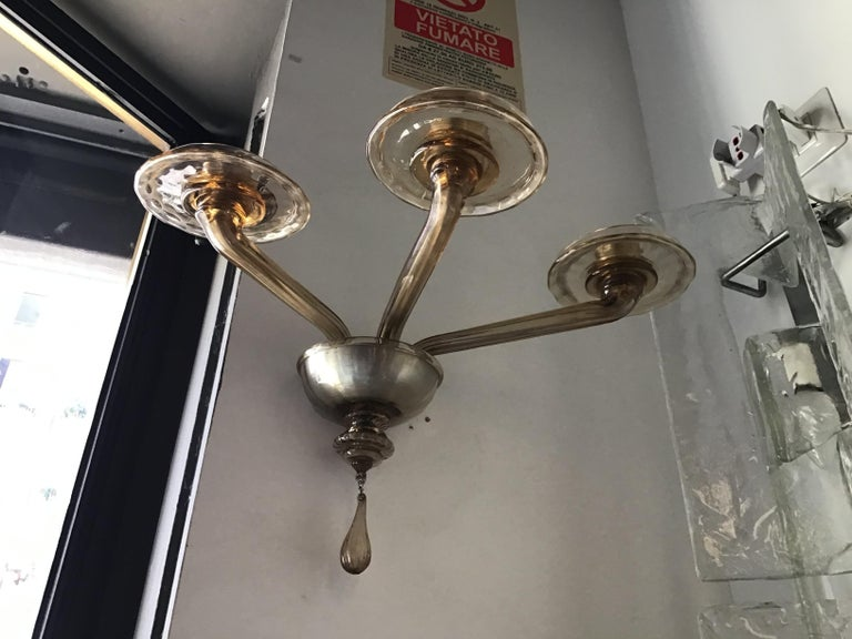 Venini Sconces Murano Glass Brass, 1930, Italy In Excellent Condition For Sale In Milano, IT