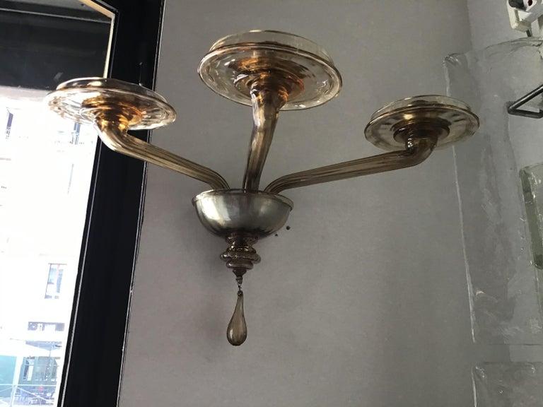 20th Century Venini Sconces Murano Glass Brass, 1930, Italy For Sale
