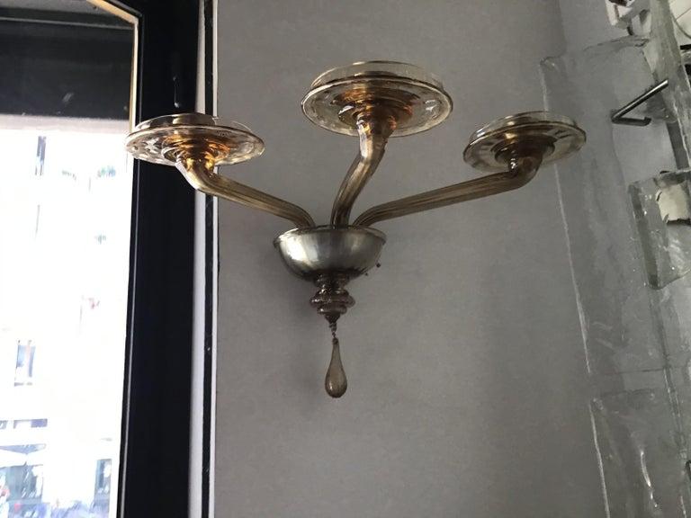 Venini Sconces Murano Glass Brass, 1930, Italy For Sale 2