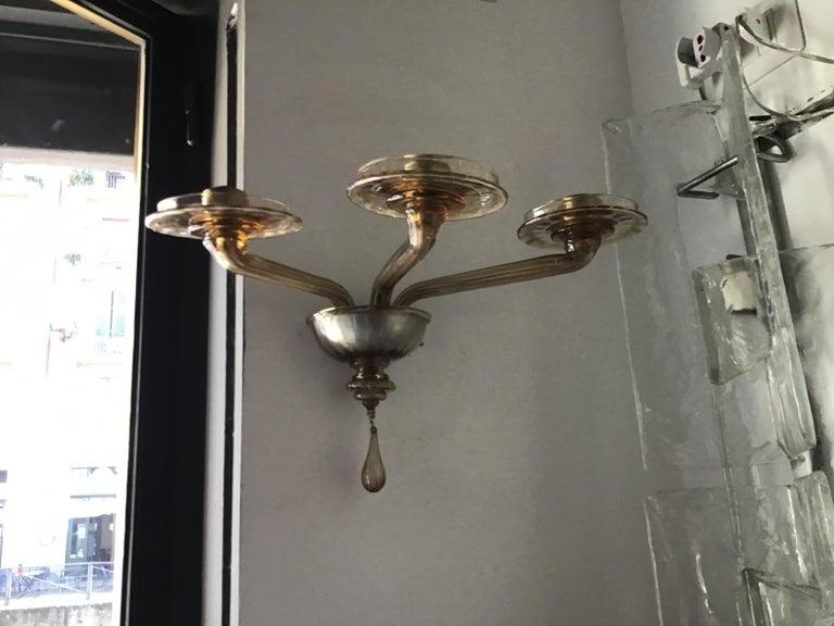 Venini Sconces Murano Glass Brass, 1930, Italy For Sale 3