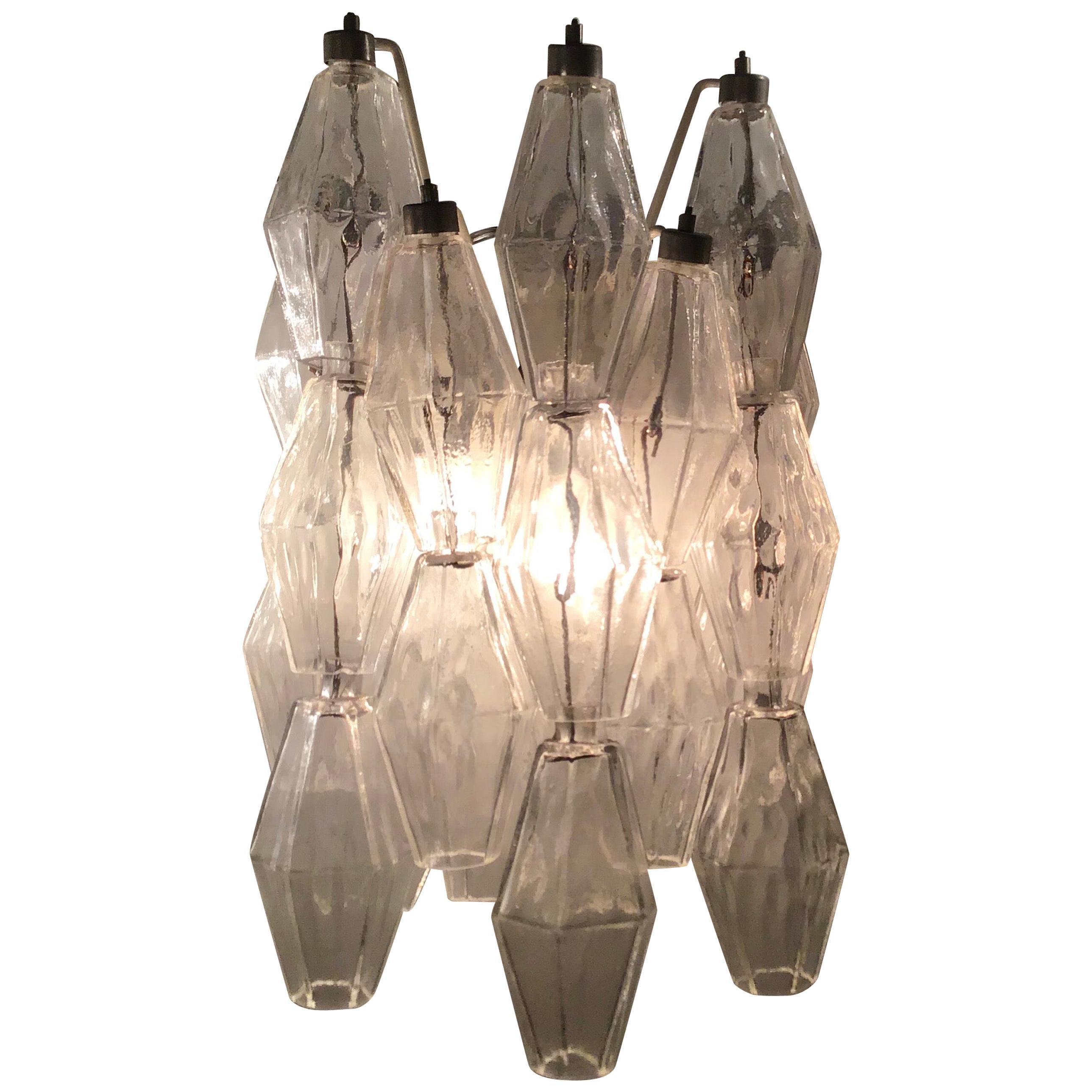 "Venini Sconces ""Poliedri"" Murano Glass Metal Iron, 1950, Italy"