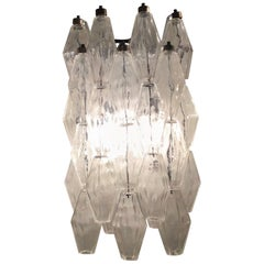 """Venini Sconces """"Poliedri"""" Carlo Scarpa Murano Glass Metal Iron, 1950, Italy"""