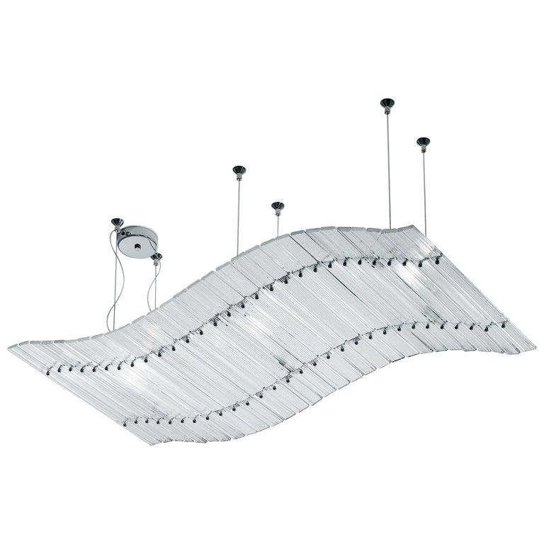 Venini Short Tappeto Volante Pendant Light in Crystal Glass For Sale