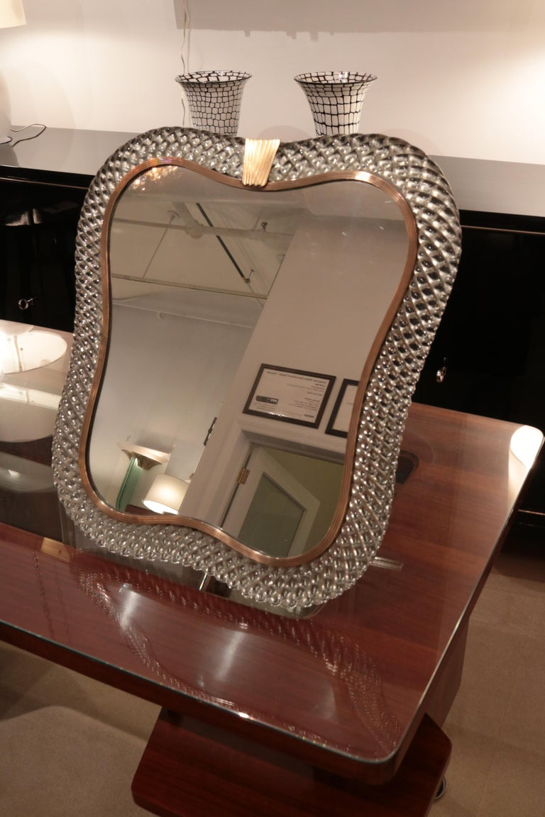 Venini Signed Murano Art Glass Table Mirror In Good Condition For Sale In New York, NY