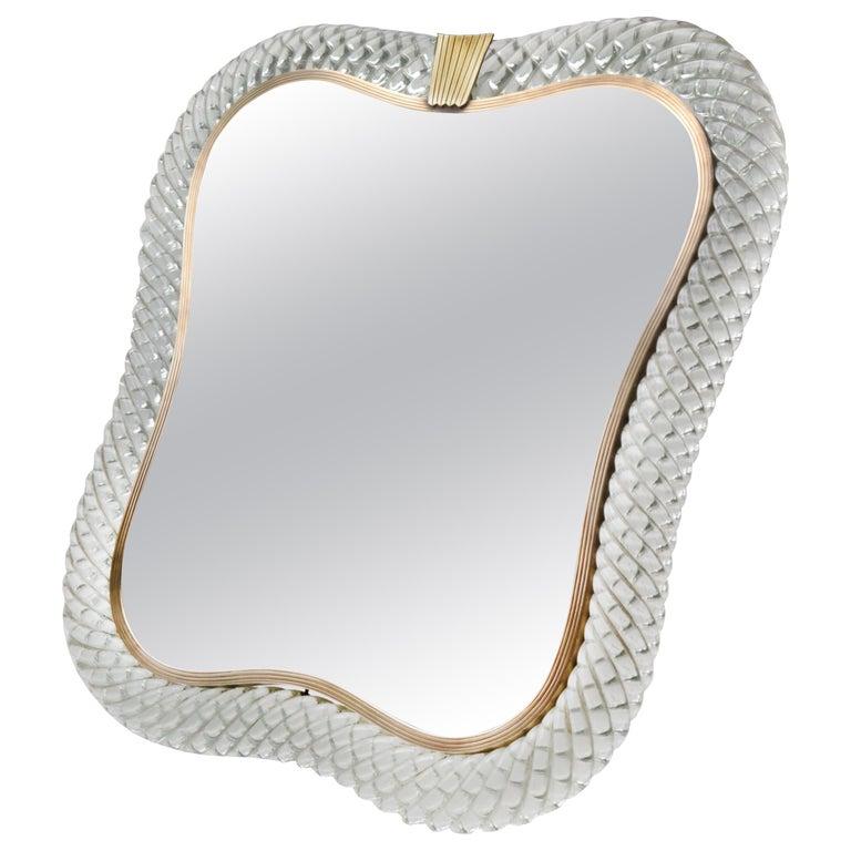 Venini Signed Murano Art Glass Table Mirror For Sale