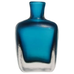 Venini Signed Murano Sommerso Navy Blue Inciso Technique Italian Art Glass Vase