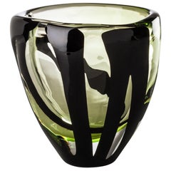 Venini Small Black Belt Oval Glass Vase in Crystal and Green by Peter Marino