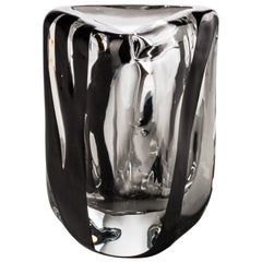 Venini Small Black Belt Triangular Glass in Crystal and Black by Peter Marino