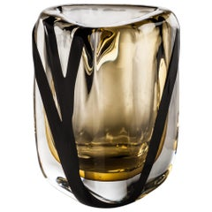 Venini Small Black Belt Triangular Glass in Crystal and Tea by Peter Marino