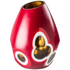 Venini Small Geodi Glass Vase in Red, White and Yellow by Sonia Pedrazzini